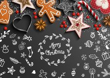 Christmas theme with white doodles and decorations vector illustration