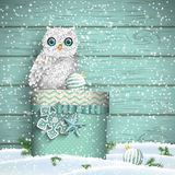 Christmas theme, white owl sitting on blue gift box in snow, illustration Stock Image