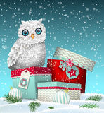 Christmas theme, white owl sitting on group of gift boxes in snowy landscape, illustration Royalty Free Stock Photos