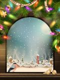 Christmas Theme - Window with a kind. EPS 10 Royalty Free Stock Photo