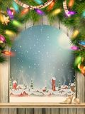 Christmas Theme - Window with a kind. EPS 10. Christmas Theme - Window with a kind on winter village. EPS 10 vector file included Stock Photos