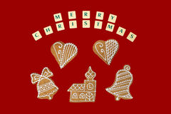 Christmas theme with a wishes on red background. Royalty Free Stock Image