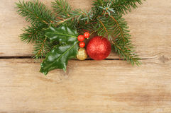 Christmas theme on wood Royalty Free Stock Images