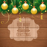 Christmas Theme. With Wooden Boards, Baubles, Fir Branches and Grunge Retro Label, vector background Royalty Free Stock Photos