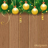 Christmas Theme. With Wooden Boards, Baubles, Fir Branches, Retro Label and Gold Streamer, vector background Stock Photos