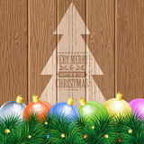 Christmas Theme. With Wooden Boards, Baubles, Fir Branches, Retro Label and Tree, vector background Stock Photo