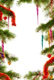 Christmas themed background with fir branches and ornaments royalty free stock image