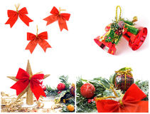 Christmas themed collage. Isolated on white background Stock Images