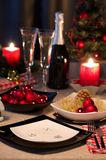 Christmas themed dinner table Royalty Free Stock Image