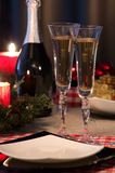 Christmas themed dinner table Stock Photography
