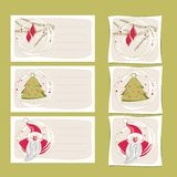Christmas themed gift labels red green Stock Photos