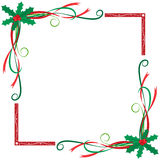 Christmas themed holly berried and leaves frame Stock Images