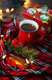 Christmas themed image with cup of tea Stock Photography