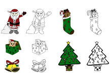 Christmas Themed Isolated Vector Sketches Royalty Free Stock Images