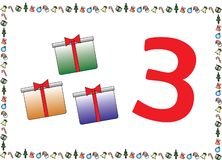 Christmas Themed Kids Number Series 3 stock illustration
