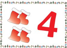 Christmas Themed Kids Number Series 4 stock photos
