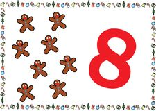 Christmas Themed Kids Number Series 8 stock illustration