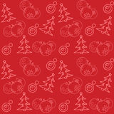 Christmas themed seamless pattern. With baubles and firs Royalty Free Stock Photography