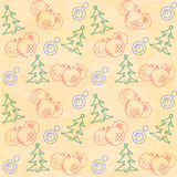 Christmas themed seamless pattern. With baubles and firs Royalty Free Stock Image