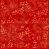 Christmas themed seamless pattern. With baubles and firs Royalty Free Stock Photos