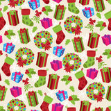 Christmas Themed Seamless Patterned Background Royalty Free Stock Image