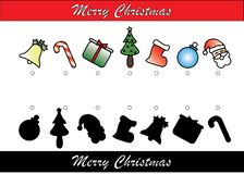 Christmas Themed Shadow Matching Game stock illustration