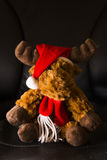 Christmas themed toy. Christmas themed soft toy on black background Stock Image