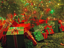Christmas-themed wrapped gift boxes Royalty Free Stock Photos