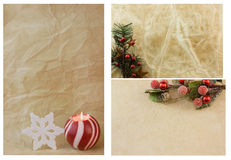 Christmas themes on antique stype paper Stock Photography