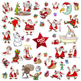 Christmas themes cartoon set. Cartoon Illustration of Christmas Themes and Characters Clip Arts Set Stock Photo