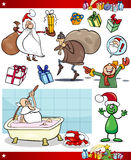 Christmas themes cartoon set Stock Photos