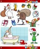 Christmas themes cartoon set. Cartoon Illustration of Santa Claus and Christmas Presents and Themes Set Stock Photos