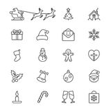 Christmas thin icons Stock Photography