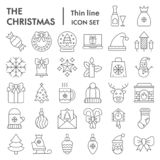 Christmas Thin Line Icon Set, Celebration Symbols Collection, Vector Sketches, Logo Illustrations, Winter Signs Linear Royalty Free Stock Image