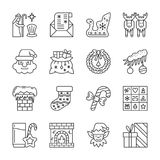 Christmas New year line icon set editable stroke. Christmas thin line icon set. New year vector linear symbol pack. Outline sign without fill. Editable stroke Stock Photo