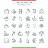 Christmas thin line icons set. Christmas icons set. Modern thin line icons on theme new year and christmas Royalty Free Stock Photography