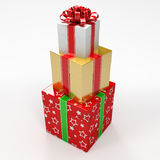 Christmas Three gift boxes Stock Photos