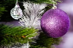 Christmas three. Purple Christmas decoration at home Royalty Free Stock Photo