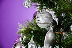 Christmas three. Purple Christmas decoration at home Stock Image