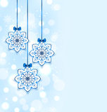 Christmas three snowflakes with bows Royalty Free Stock Photography