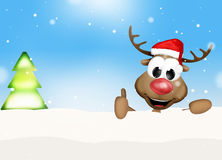 Christmas Thumbs Up Reindeer Winter Landscape Stock Photography