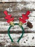 Christmas Tiara on a White wooden background Royalty Free Stock Photos