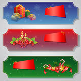 Christmas Ticket Set. Ticket in christmas theme. The item in this collection are candles, gift box, and decoration item Royalty Free Stock Photo