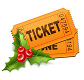 Christmas tickets with the mistletoe. Christmas Sale. Tickets with the mistletoe Stock Image