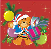 Christmas tiger. 2010 New Year's symbol tiger wearing a Santa hat Stock Image