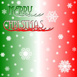 Christmas Time. Red, green and white background with snow Royalty Free Stock Photos
