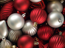Christmas time!. A colorful christmas background made up of silver and red balls Royalty Free Stock Image