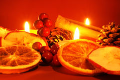 Christmas time. Beautiful Christmas decoration with candles Royalty Free Stock Photo