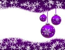 Christmas Time. Christmas ornaments and snowflake border isolated on white, Christmas Time Royalty Free Stock Photography