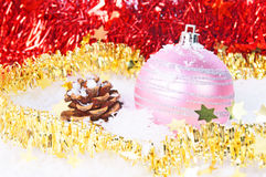 Christmas time. Christmas decoration with snow, and garland Stock Photography